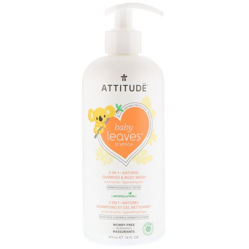 ATTITUDE, Baby Leaves Science, 2-In-1 Natural Shampoo & Body Wash, Pear Nectar, 16 fl oz (473 ml) Review