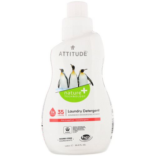 ATTITUDE, Laundry Detergent, Pink Grapefruit, 35 Loads, 35.5 fl oz (1.05 l) Review