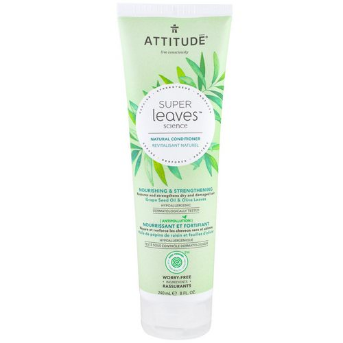 ATTITUDE, Super Leaves Science, Natural Conditioner, Nourishing & Strengthening, Grape Seed Oil & Olive Leaves, 8 oz (240 ml) Review