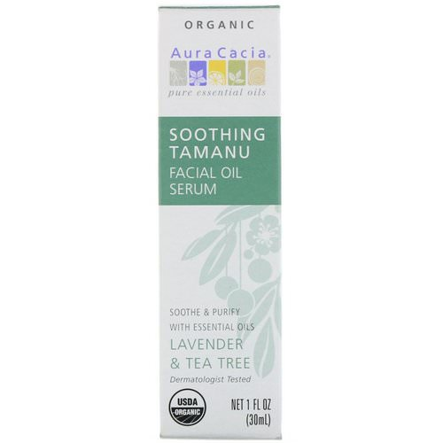 Aura Cacia, Organic Soothing Tamanu Facial Oil Serum, Lavender & Tea Tree, 1 fl oz (30 ml) Review