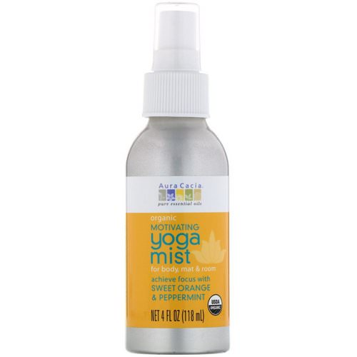 Aura Cacia, Organic, Yoga Mist, Motivating, Sweet Orange & Peppermint, 4 fl oz (118 ml) Review