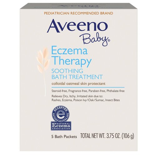 Aveeno, Baby, Eczema Therapy, Soothing Bath Treatment, Fragrance Free, 5 Bath Packets, 3.75 oz (106 g) Review