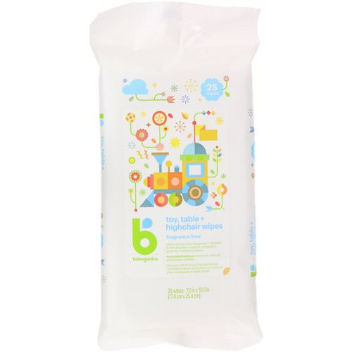 BabyGanics, Toy, Table + Highchair Wipes, Fragrance Free, 25 Wipes Review