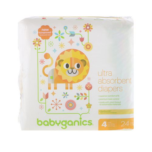 BabyGanics, Ultra Absorbent Diapers, Size 4, 22-37 lbs, (10-17 kg), 24 Diapers Review