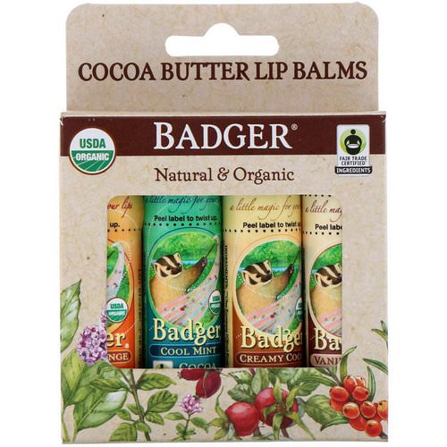 Badger Company, Organic, Cocoa Butter Lip Balms Set, 4 Pack, .25 oz (7 g) Each Review