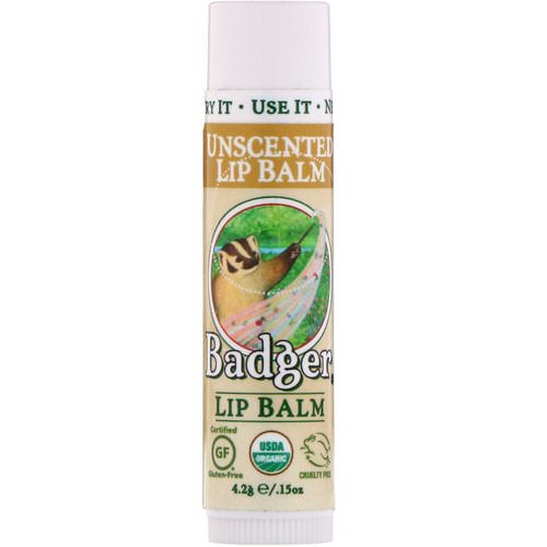 Badger Company, Organic Lip Balm, Unscented, .15 oz (4.2 g) Review