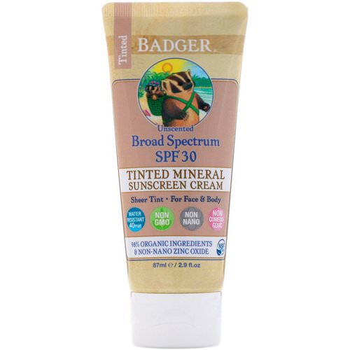 Badger Company, Tinted Mineral Sunscreen Cream, Broad Spectrum SPF 30, Unscented, 2.9 fl oz (87 ml) Review