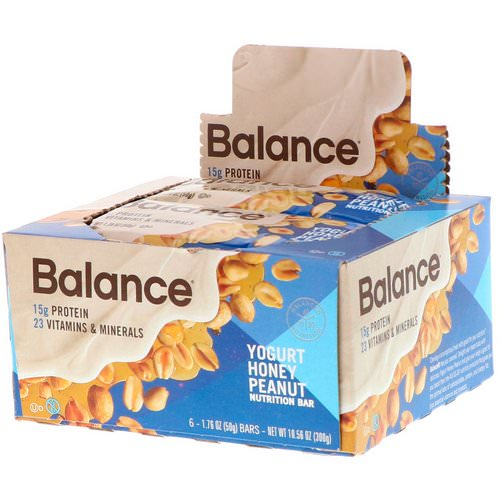 Balance Bar, Nutrition Bar, Yogurt Honey Peanut, 6 Bars, 1.76 oz (50 g) Each Review