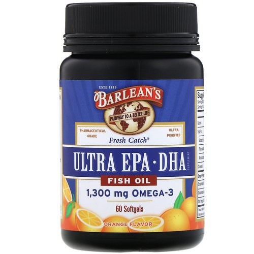 Barlean's, Fresh Catch Fish Oil, Omega-3, Ultra EPA/DHA, Orange Flavor, 60 Softgels Review