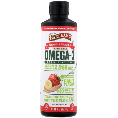 Barlean's, Seriously Delicious, Omega-3 Fish Oil, Strawberry Banana Smoothie, 16 oz (454 g) Review