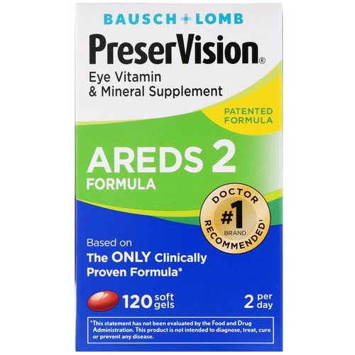 Bausch & Lomb, PreserVision, AREDS 2 Formula, Eye Vitamin & Mineral Supplement, 120 Soft Gels Review