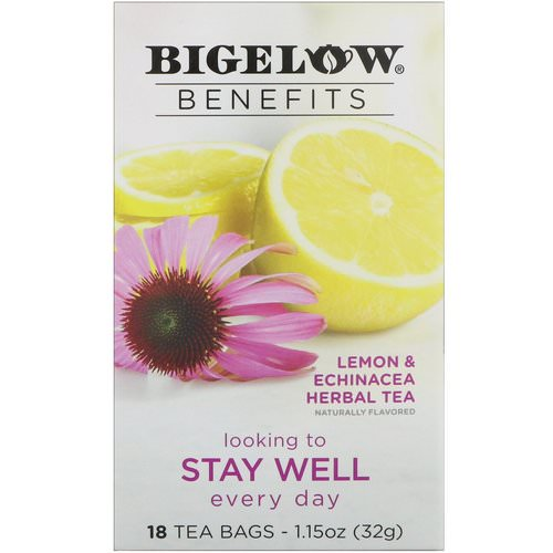 Bigelow, Benefits, Stay Well, Lemon & Echinacea Herbal Tea, 18 Tea Bags, 1.15 oz (32 g) Review