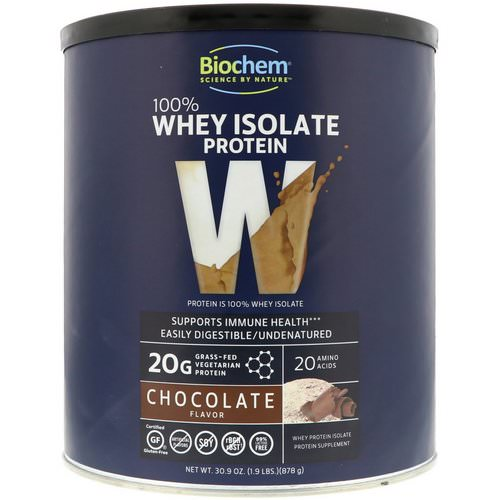Biochem, 100% Whey Isolate Protein, Chocolate Flavor, 1.9 lbs (878 g) Review