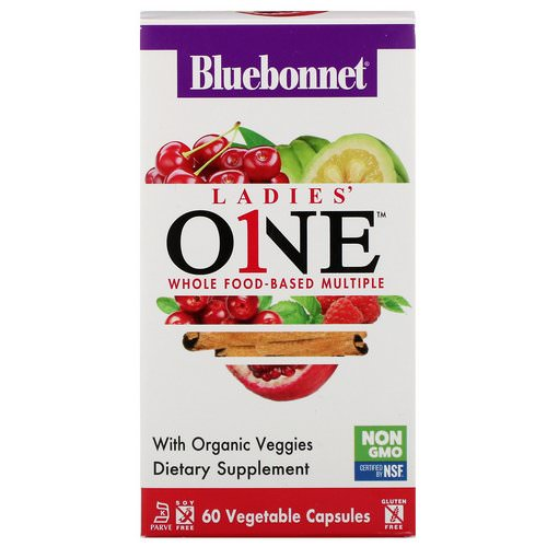 Bluebonnet Nutrition, Ladies' ONE, Whole Food-Based Multiple, 60 Vegetables Capsules Review