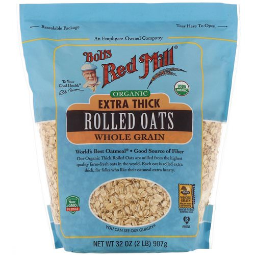 Bob's Red Mill, Organic, Extra Thick Rolled Oats, Whole Grain, 32 oz (907 g) Review