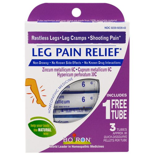 Boiron, Leg Pain Relief, 3 Tubes, 80 Quick-Dissolving Pellets Each Review