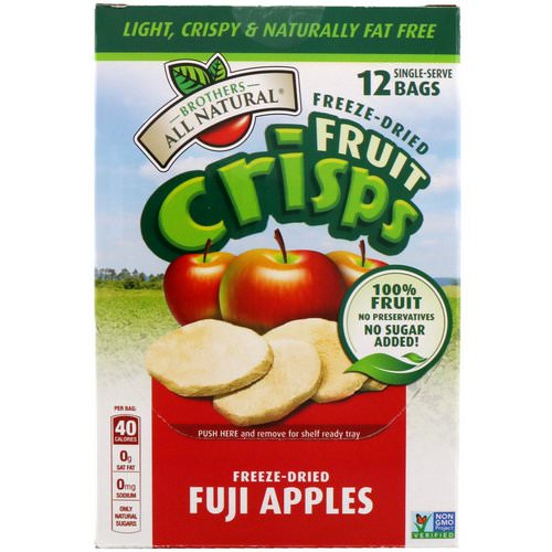 Brothers-All-Natural, Freeze-Dried - Fruit Crisps, Fuji Apples, 12 Single-Serve Bags, 4.23 oz (120 g) Review