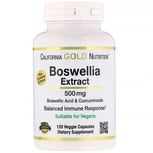 California Gold Nutrition, Boswellia Extract, Plus Turmeric Extract, 500 mg, 120 Veggie Capsules Review