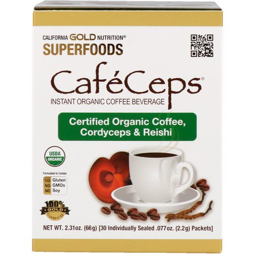 California Gold Nutrition, CafeCeps, Certified Organic Instant Coffee with Cordyceps and Reishi Mushroom Powder, 30 Packets, .077 oz (2.2 g) Each Review