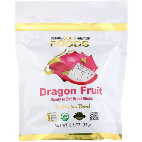 California Gold Nutrition, Dragon Fruit, Ready to Eat Dried Slices, 2.5 oz (71 g) Review