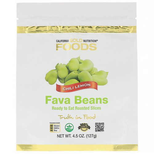 California Gold Nutrition, Foods, Fava Beans, Ready to Eat Roasted Slices, Chili Lemon, 4.5 oz (127 g) Review
