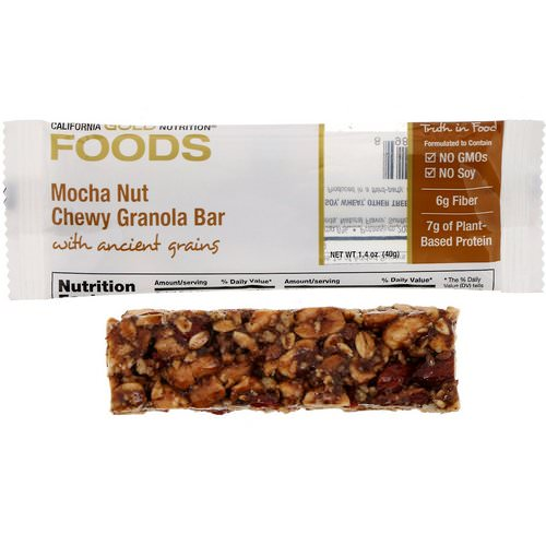 California Gold Nutrition, Foods, Mocha Nut Chewy Granola Bar, 1.4 oz (40 g) Review
