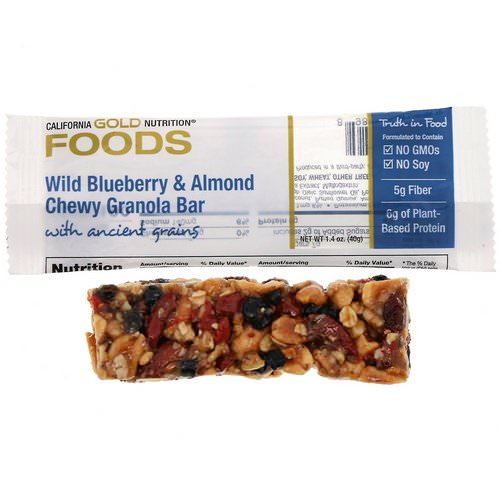 California Gold Nutrition, Foods, Wild Blueberry & Almond Chewy Granola Bar, 1.4 oz (40 g) Review