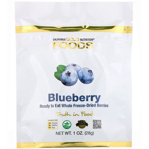 California Gold Nutrition, Freeze-Dried Blueberry, Ready to Eat Whole Freeze-Dried Berries, 1 oz (28 g) Review