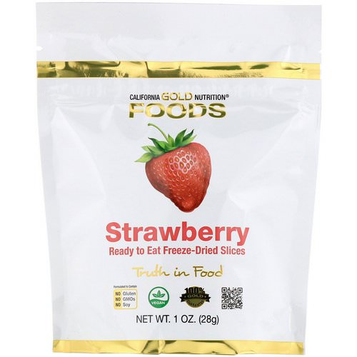 California Gold Nutrition, Freeze-Dried Strawberry, Ready to Eat Whole Freeze-Dried Slices, 1 oz (28 g) Review