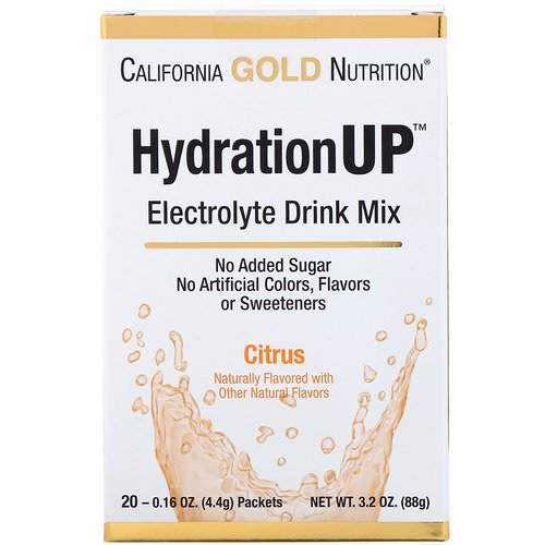 California Gold Nutrition, HydrationUP, Electrolyte Drink Mix, Citrus, 20 Packets, 0.16 oz (4.4 g) Each Review