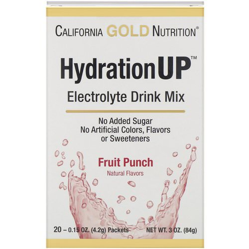 California Gold Nutrition, HydrationUP, Electrolyte Drink Mix, Fruit Punch, 20 Packets, 0.15 oz (4.2 g) Each Review