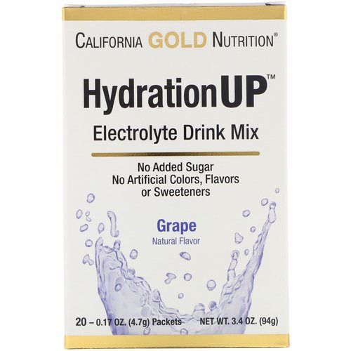 California Gold Nutrition, HydrationUP, Electrolyte Drink Mix, Grape, 20 Packets, 0.17 oz (4.7 g) Each Review