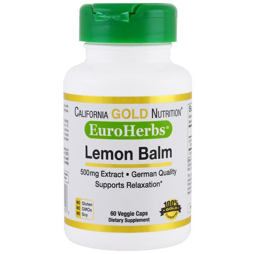 California Gold Nutrition, Lemon Balm Extract, European Quality, 500 mg, 60 Veggie Caps Review