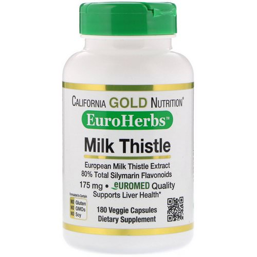 California Gold Nutrition, Milk Thistle Extract, 80% Silymarin, EuroHerbs, Clinical Strength, 180 Veggie Capsules Review