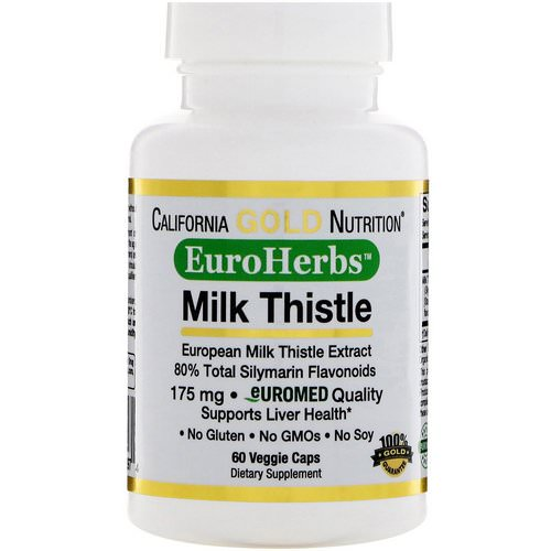 California Gold Nutrition, Milk Thistle Extract, 80% Silymarin, EuroHerbs, Clinical Strength, 60 Veggie Caps Review