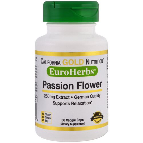 California Gold Nutrition, Passion Flower, EuroHerbs, 250 mg, 60 Veggie Caps Review