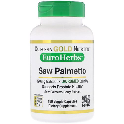 California Gold Nutrition, Saw Palmetto Extract, EuroHerbs, European Quality, 320 mg, 180 Veggie Capsules Review