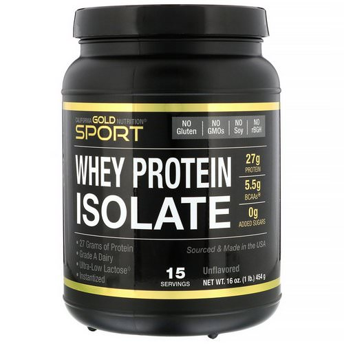 California Gold Nutrition, SPORT, Whey Protein Isolate, Unflavored, 90% Protein, Fast Absorption, Easy to Digest, Single Source Grade A Wisconsin, USA Dairy, 1 lb, 16 oz (454 g) Review