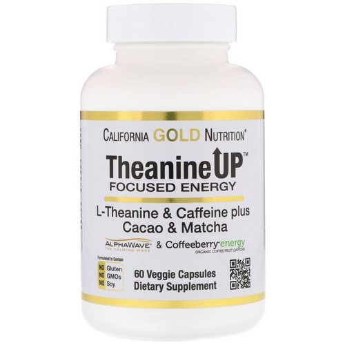 California Gold Nutrition, TheanineUP Focused Energy, L-Theanine & Caffeine, 60 Veggie Capsules Review
