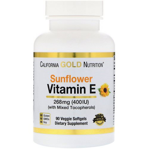 California Gold Nutrition, Sunflower Vitamin E, with Mixed Tocopherols, 400 IU, 90 Veggie Softgels Review