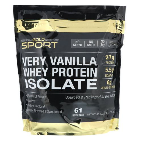 California Gold Nutrition, Very Vanilla Flavor Whey Protein Isolate, 5 lbs (2270 g) Review