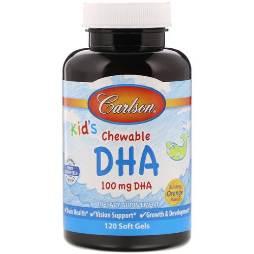 Carlson Labs, Kids Chewable DHA, Bursting Orange Flavor, 120 Soft Gels Review