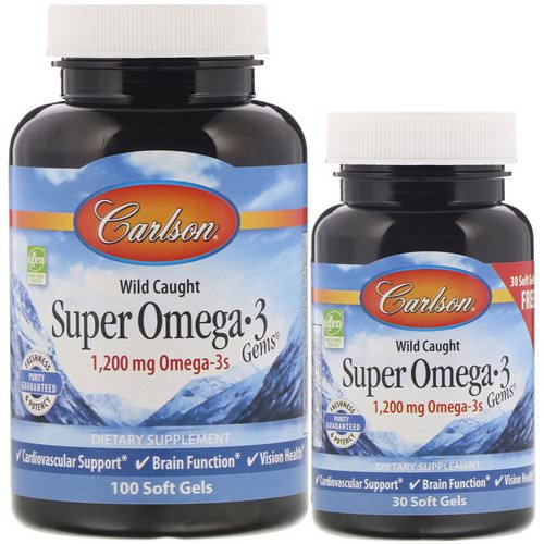 Carlson Labs, Wild Caught, Super Omega-3 Gems, 1,200 mg, 100 + 30 Soft Gels Review