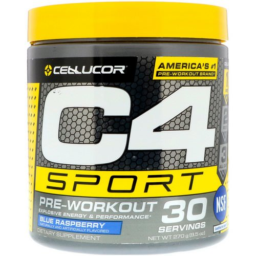 Cellucor, C4 Sport, Pre-Workout, Blue Raspberry, 9.5 oz (270 g) Review