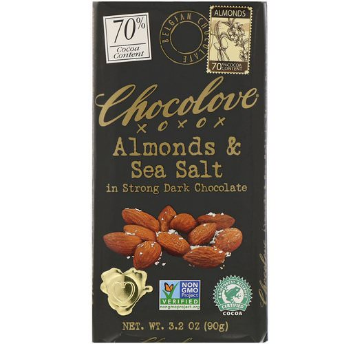 Chocolove, Almonds & Sea Salt in Strong Dark Chocolate, 3.2 oz (90 g) Review