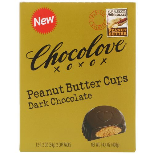 Chocolove, Peanut Butter Cups, Dark Chocolate, 12- 2 Cup Packs, 1.2 oz (34 g) Each Review