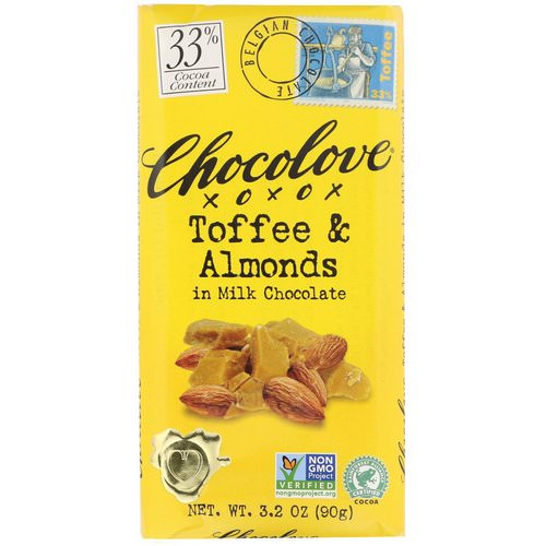 Chocolove, Toffee & Almonds in Milk Chocolate, 3.2 oz (90 g) Review