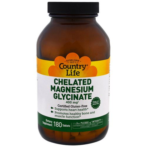 Country Life, Chelated Magnesium Glycinate, 400mg, 180 Tablets Review