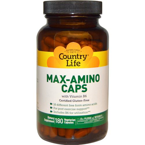 Country Life, Max-Amino Caps, with Vitamin B-6, 180 Veggie Caps Review