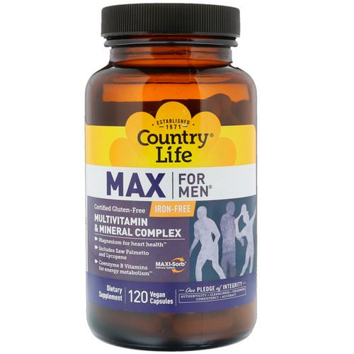 Country Life, Max for Men, Multivitamin & Mineral Complex, Iron-Free, 120 Vegan Capsules Review